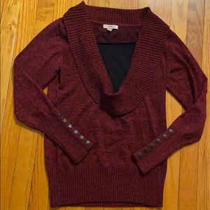 Roz & Ali brand cowl neck sweater size small red